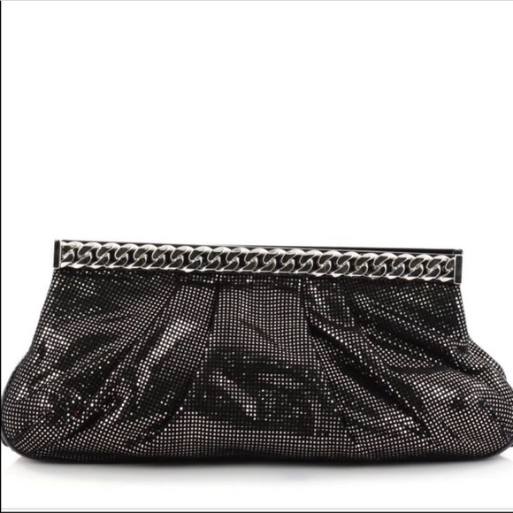 Christian Louboutin Handbags - CHRISTIAN LOUBOUTIN Black Metallic Kathena Clutch